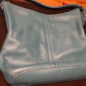 Coach all leather light blue bag w/ dust bag